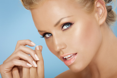 french model: Closeup of a model with french maicure. Stock Photo