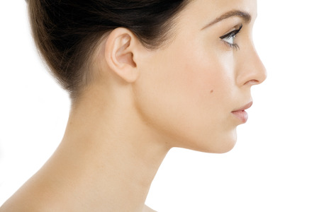 side shot: Side-view of a young woman.