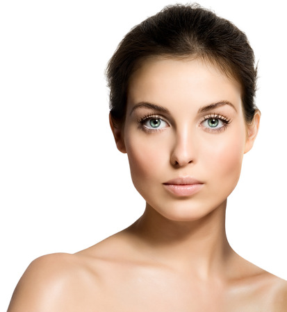 face shot: Closeup of a young beautiful woman.