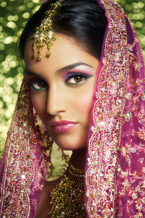 sari: Beautiful Indian woman in traditional clothing.