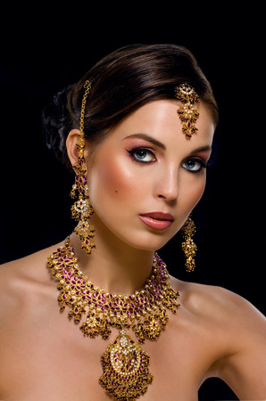 asian and indian ethnicities: Woman with nice Indian makeup.