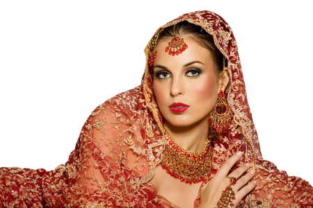 indian bride: Indian woman wearing traditional red outfit. Stock Photo