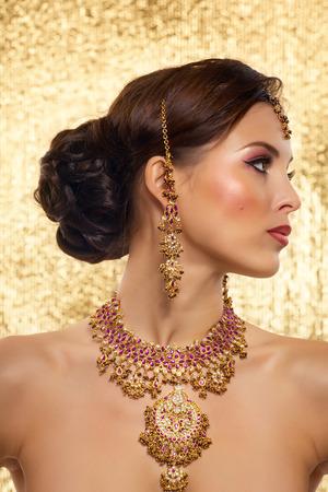 side profile: Indian bridal styling. Stock Photo