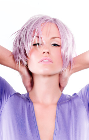 Model posing in purple tones. Banco de Imagens