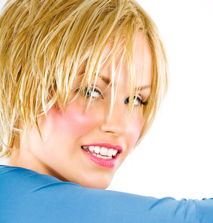 woman short hair: Young woman with short blonde hair.