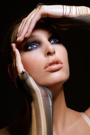 smoky eyes: Model with smoky eyes.