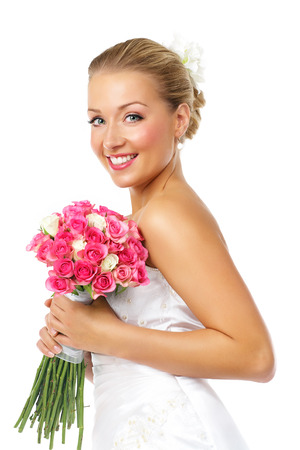 uploaded: Happy bride with bouquet of roses. Uploaded on request.