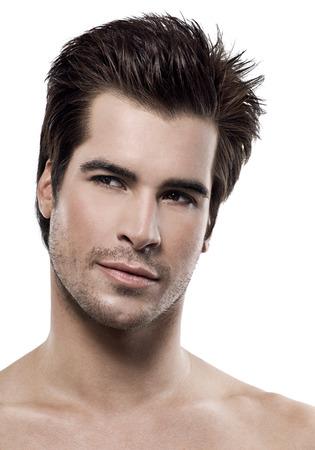 Male caucasian model on white background.