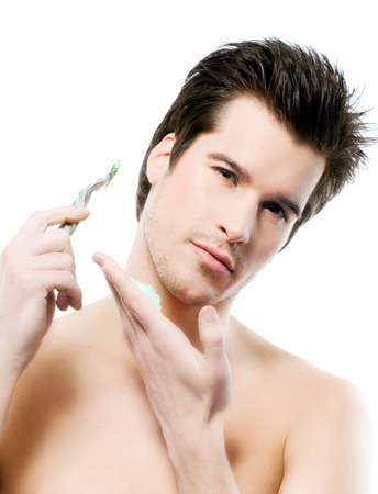 shaving cream: Man before shaving.