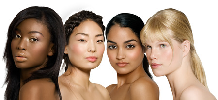 woman in white: Multi-ethnic group of young women: African, Asian, Indian and Caucasian.