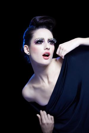 fake eyelashes: Fashion model with expressive choreography.
