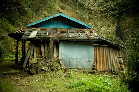 rundown: Old run-down hut in Japan. Stock Photo