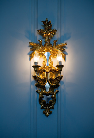 fixture: Rococo-style wall bronze lighting fixture with electrical light.