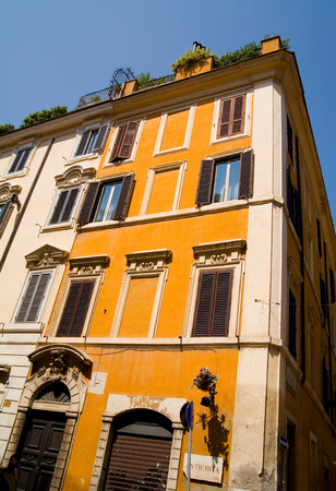 fasade: Traditional house in Rome against blue sky. Stock Photo