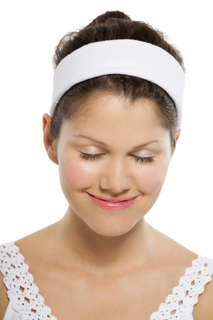 hairband: Young Caucasian woman wearing hairband for beauty care concepts.