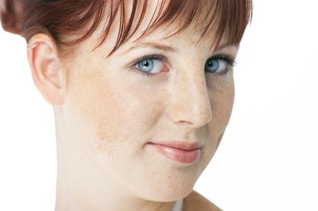 auburn: Beautiful fresh Northern European girl with auburn hair, blue eyes and freckles. Stock Photo