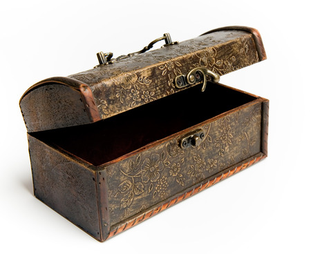 antique jewelry: Old vintage box crafted jewelry box over white background.