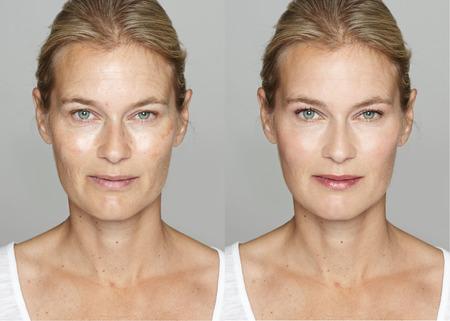caras: Mujer antes y después del maquillaje digital y cambio de imagen de retoque en la cara. Transformación concepto.