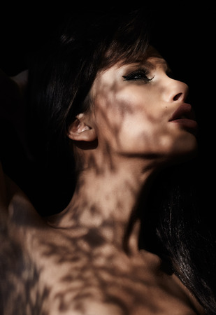 mysterious woman: Beautiful mysterious woman covered in shadow web.