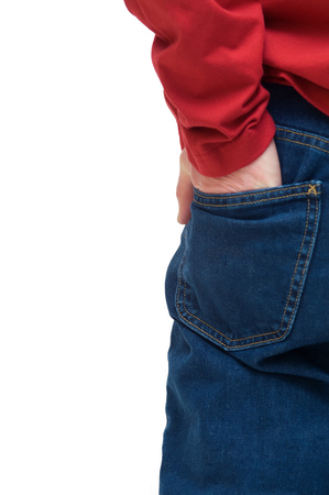 hand in pocket: Male back in red shirt isolated over white. Hand in pocket. Stock Photo