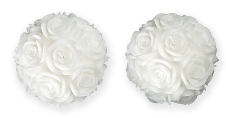 two object: White rose shaped round candles in two alternative views. Object is isolated on white background and has soft shadow and clipping path.