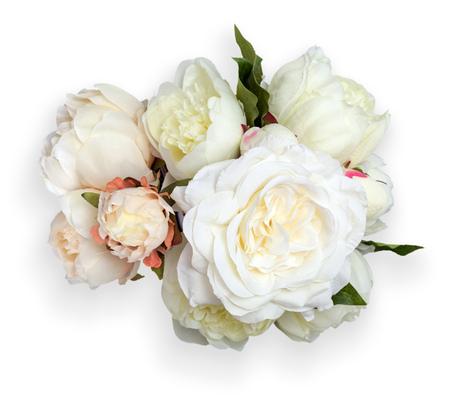 pfingstrosen: Draufsicht der weißen Pfingstrosen Bouquet. Das Objekt ist isoliert auf weißem Hintergrund und hat weichen Schatten und Beschneidungspfad.