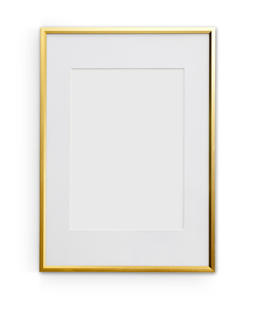 golden frame: Thin golden art frame with passe-partout mount. Object is isolated on white background and has soft shadow and clipping path.