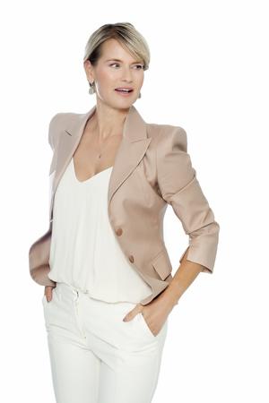 European woman dress in white. Elegant forty year old woman. Banco de Imagens