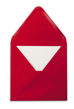 soft object: Open red envelope with card. Isolated object on white background with soft shadow.