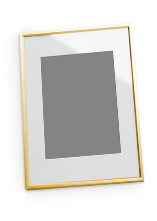 soft object: Modern thin art frame. Isolated object on white background with soft shadow.