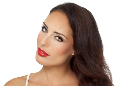 Beautiful elegant young woman with long brown styled hair and red lipstick on white background. Banco de Imagens