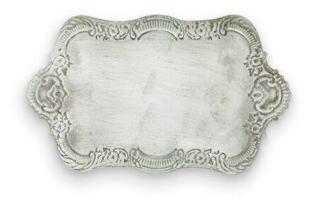 Antique tray on white background. Stock Photo