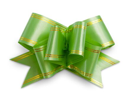 Green plastic ribbon bow on white background.
