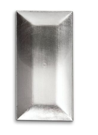 Silver square serving tray on white background.