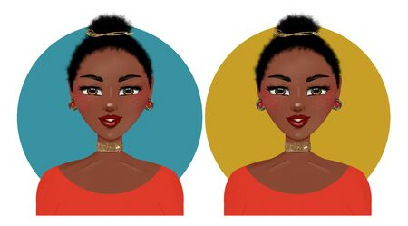 Digital avatar illustration of a cute African-American ethnic girl with a bun and golden choker. Stock Photo