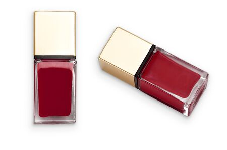 Dark red nail polish. Object is isolated on white background and has soft shadow and clipping path.