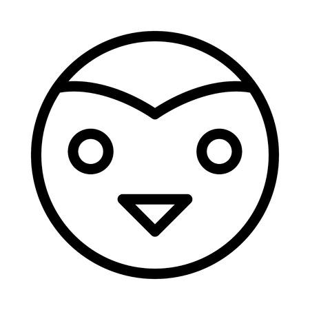 Owl head in isolated black illustration. Illustration
