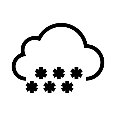 cloud with snowflakes on white background. Vector illustration.