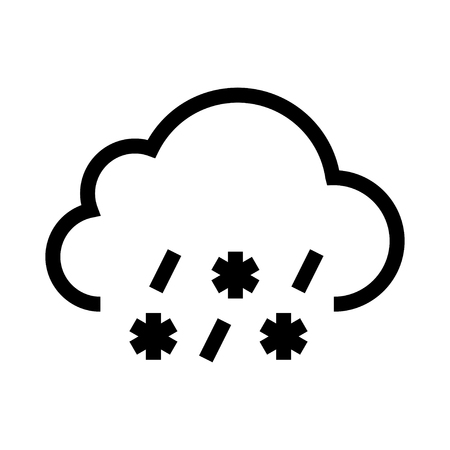 cloud with snowflakes icon white background. Vector illustration. Illustration