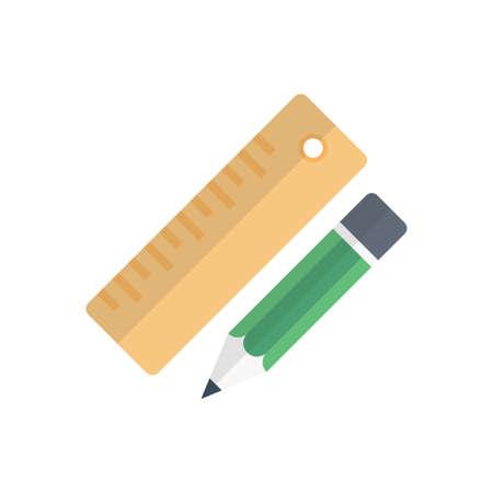 ruler and pencil design illustration