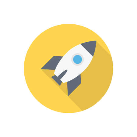 spaceship vector flat color icon