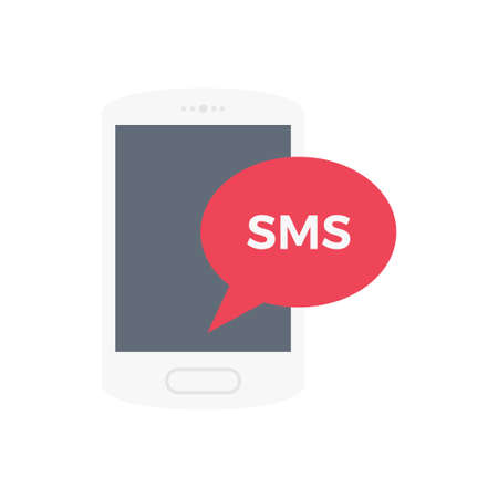SMS vector flat color icon Çizim