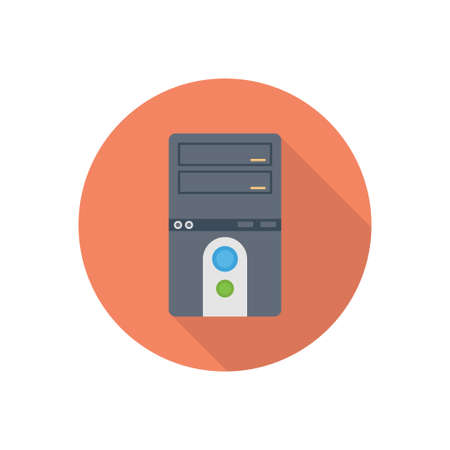 computer vector flat color icon