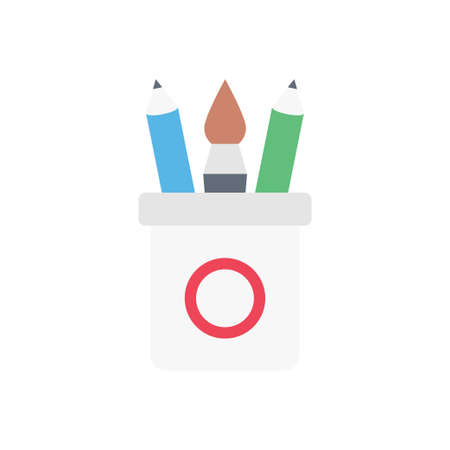 stationary vector flat color icon