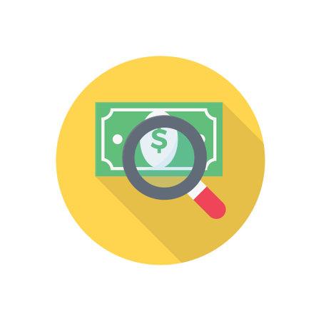 search dollar vector flat colour icon 向量圖像