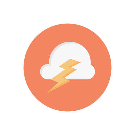 cloud storm vector flat colour icon