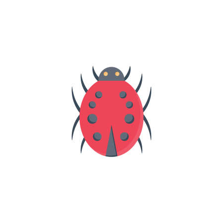 lady bird vector flat colour icon 向量圖像
