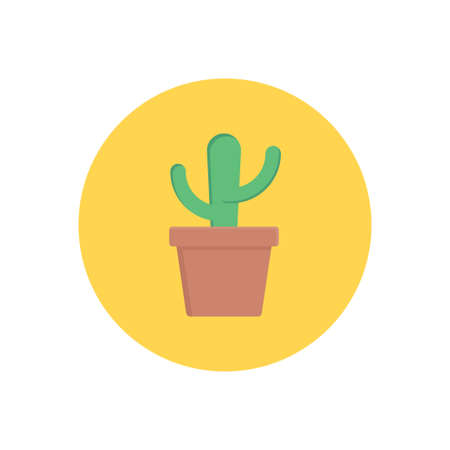 cactus vector flat colour icon 向量圖像