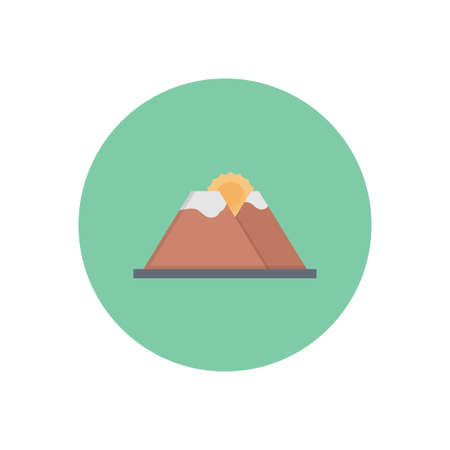 sun mountain vector flat colour icon