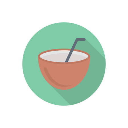 coconut juice vector flat colour icon 向量圖像